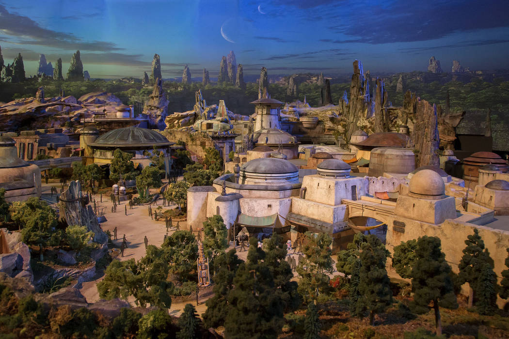 The epic, fully detailed model of the Star Wars-themed lands under development at Disneyland park in Anaheim, Calif. and Disney's Hollywood Studios in Orlando, Fla. remains on display in Walt Disn ...