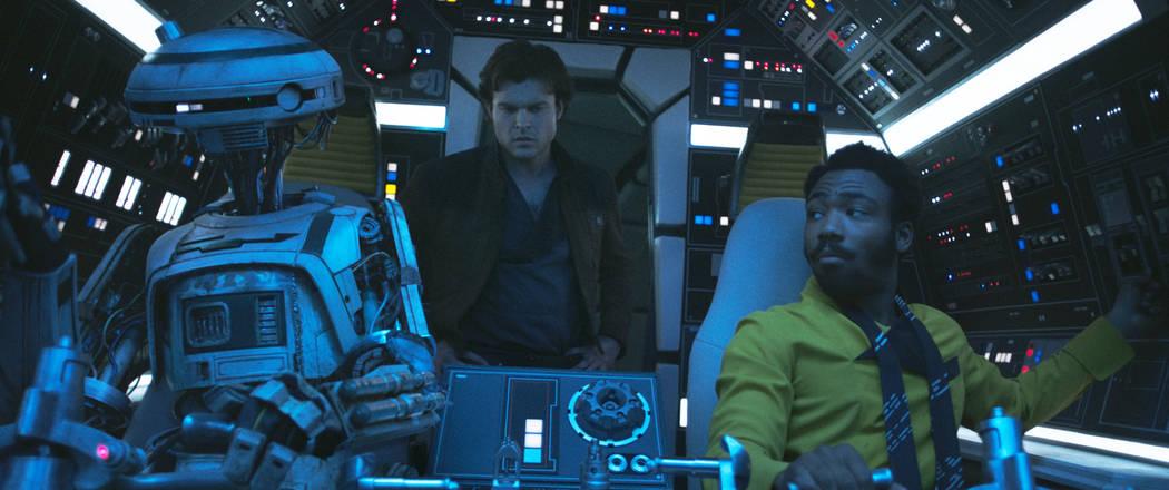 Alden Ehrenreich is Han Solo, Donal Glover is Lando Calrissian and Phoebe Waller-Bridge is L3-37 in SOLO: A STAR WARS STORY. (Lucasfilm Ltd.)