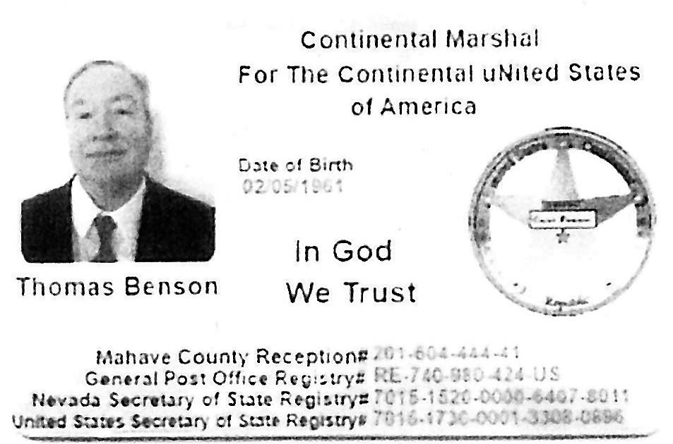 "Thomas Benson, who was given probation in May for filing bogus real estate paperwork in Las Vegas, is seen in this ""Continental Marshal"" ID card. (Clark County District Court)"