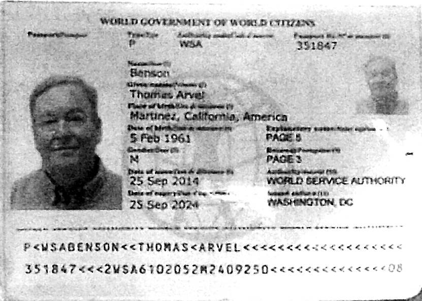 "Thomas Benson, who was given probation in May for filing bogus real estate paperwork in Las Vegas, is seen in this ""World Government of World Citizens"" ID. (Clark County District Court)"
