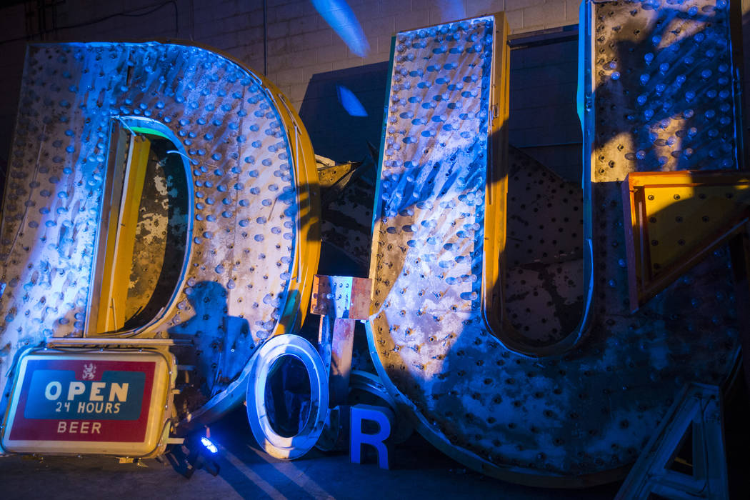 A portion of one of the Stardust signs at the Neon Museum's Ne10 Studio in Las Vegas on Thursday, May 24, 2018. The statue came down from its perch in March of 2017 at the Blue Angel Motel. Chase ...