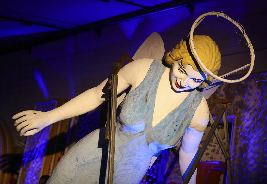 The Blue Angel statue, designed by Betty Willis, at the Neon Museum's Ne10 Studio in Las Vegas on Thursday, May 24, 2018. The statue came down from its perch in March of 2017 at the Blue Angel Mot ...