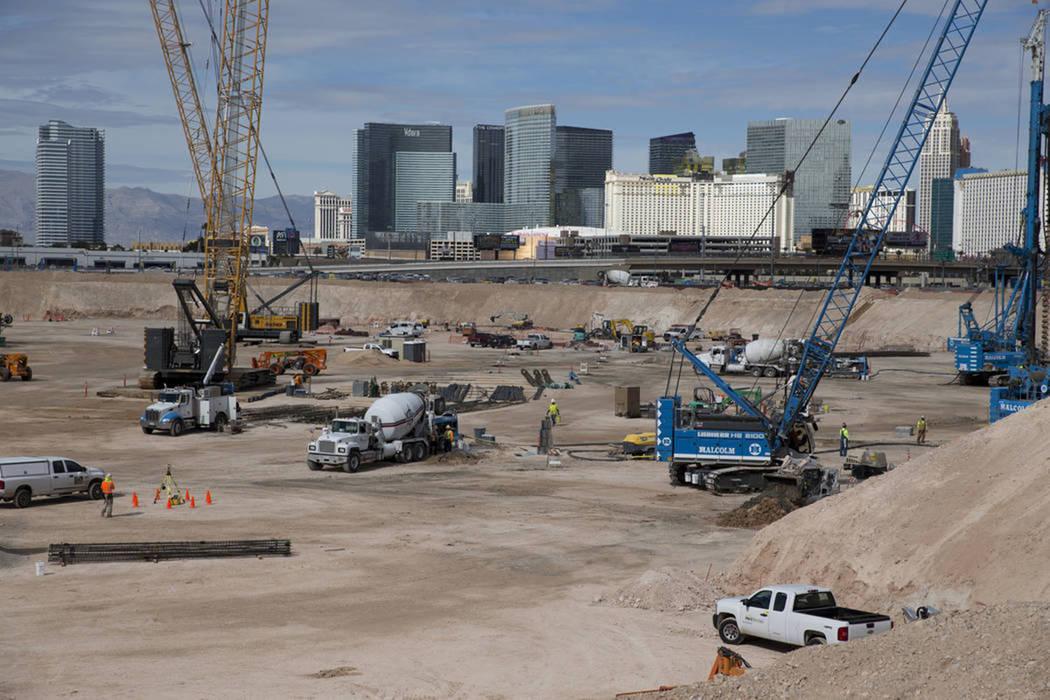 The site of the future Raiders stadium in Las Vegas, Friday, March 9, 2018. (Erik Verduzco Las Vegas Review-Journal)