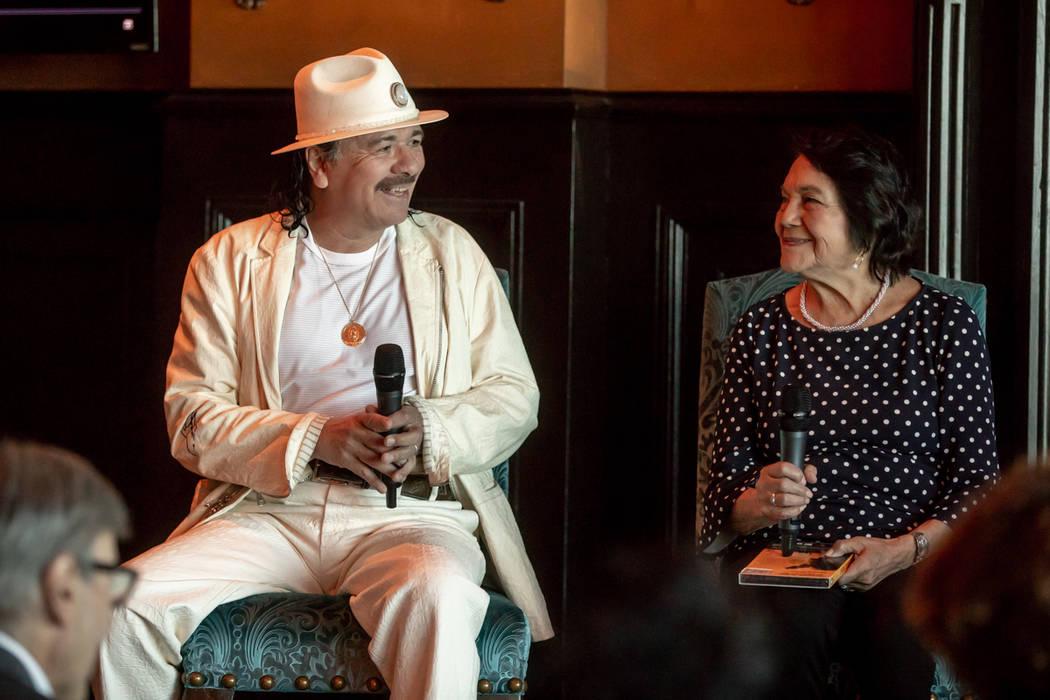Carlos Santana and Dolores Huerta are shown at Foundation Room at Mandalay Bay on Thursday, May 17, 2018. (Paul Citone)
