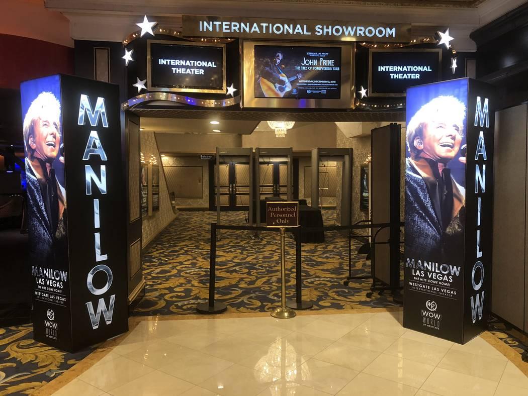 The entrance to International Showroom at Westgate Las Vegas, where Barry Manilow headlines. (John Katsilometes/Las Vegas Review-Journal) @JohnnyKats