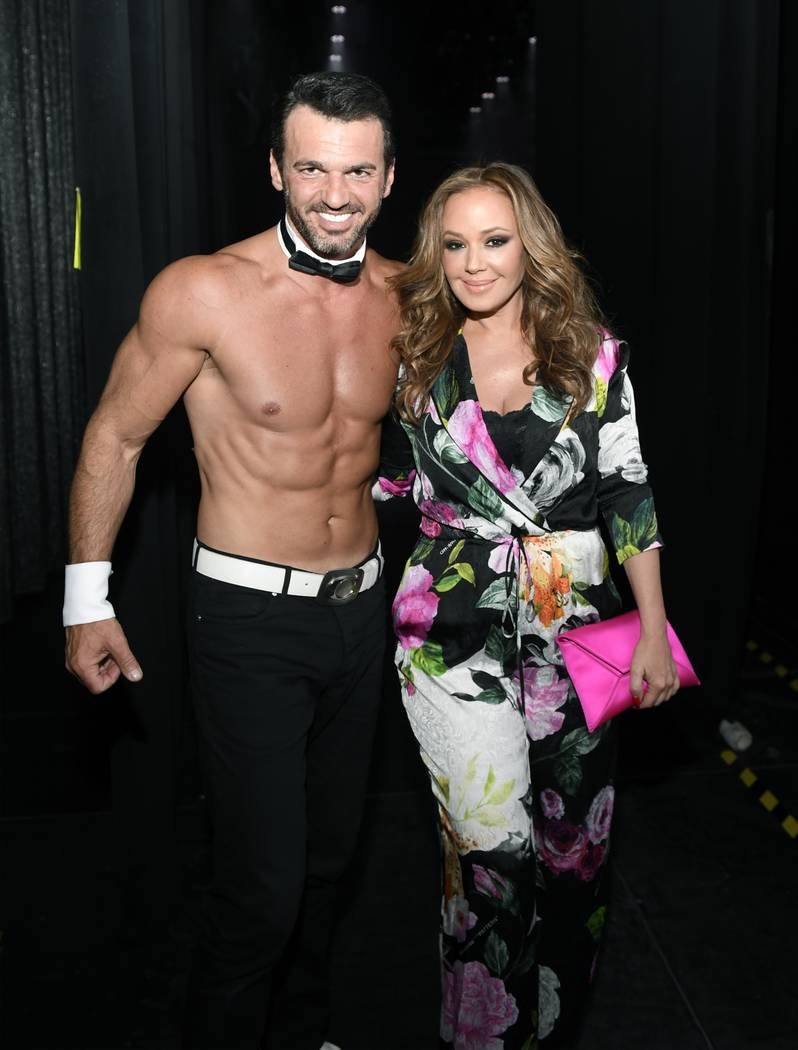 """Tony Dovolani and Leah Remini are shown backstage at """"Chippendales"""" at the Rio on Saturday, May 19, 2018. (Bryan Steffy)"""