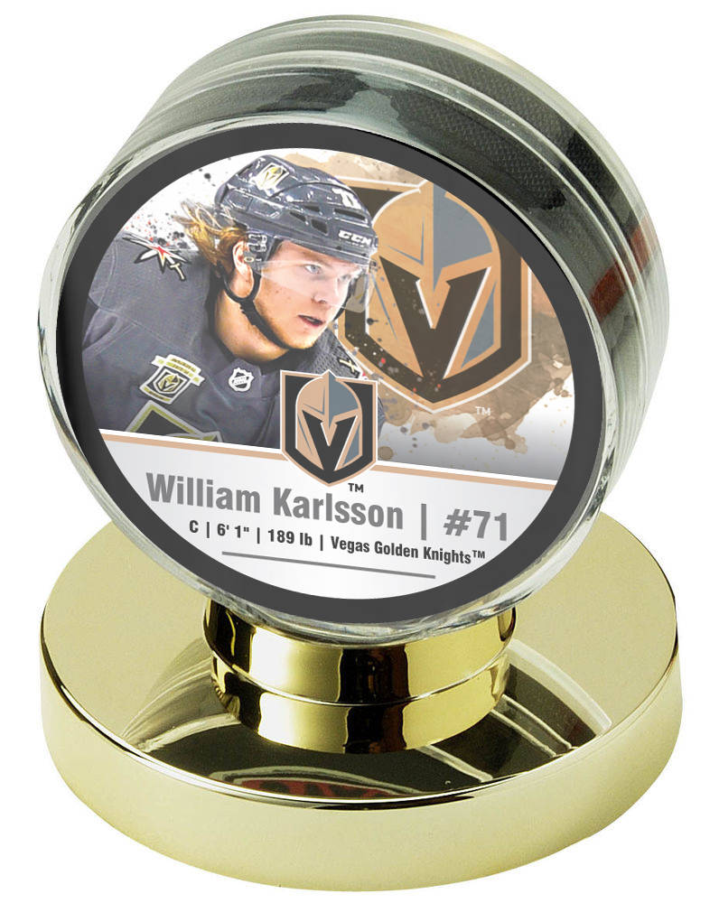 A William Karlsson Golden Knights commemorative hockey puck, part of a four-puck set being sold by Nikco Sports Memorabilia, with a percentage of the sales going to the Golden Knights Foundation. ...