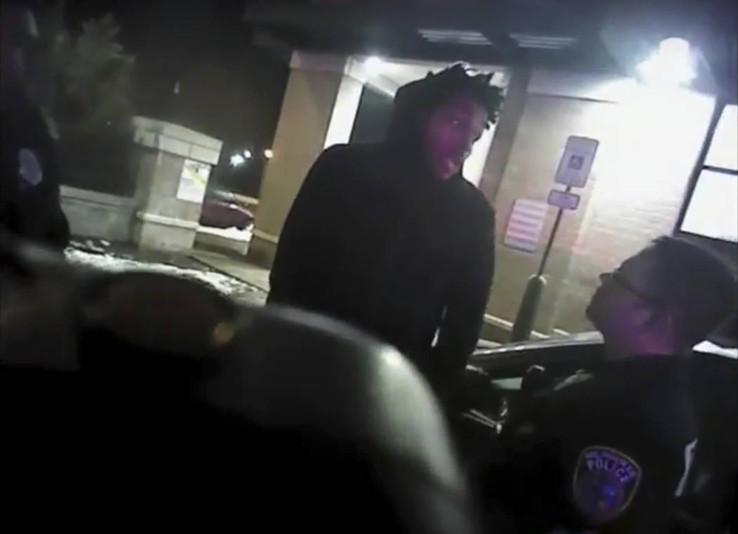 This Jan. 26, 2018 police body-camera footage released by Milwaukee Police Department shows NBA Bucks guard Sterling Brown as he talks to arresting police officers before being shot by a stun gun ...