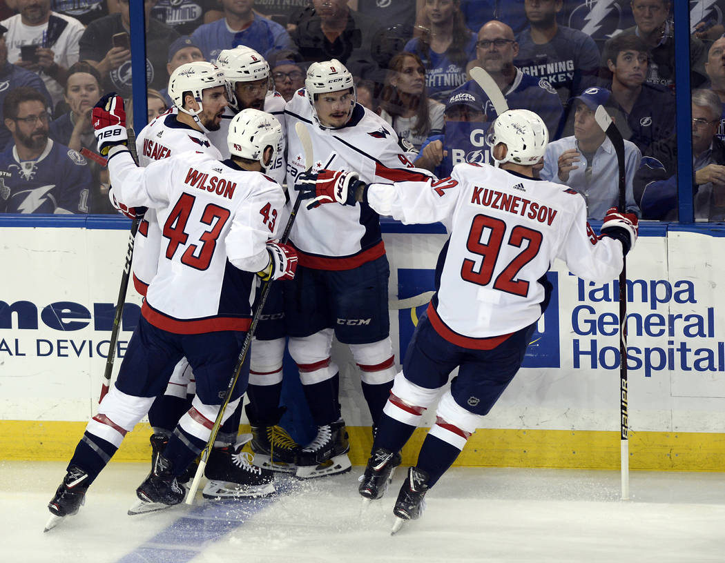 Washington Capitals players celebrate a goal against the Tampa Bay Lightning  during the first period of f45625699436