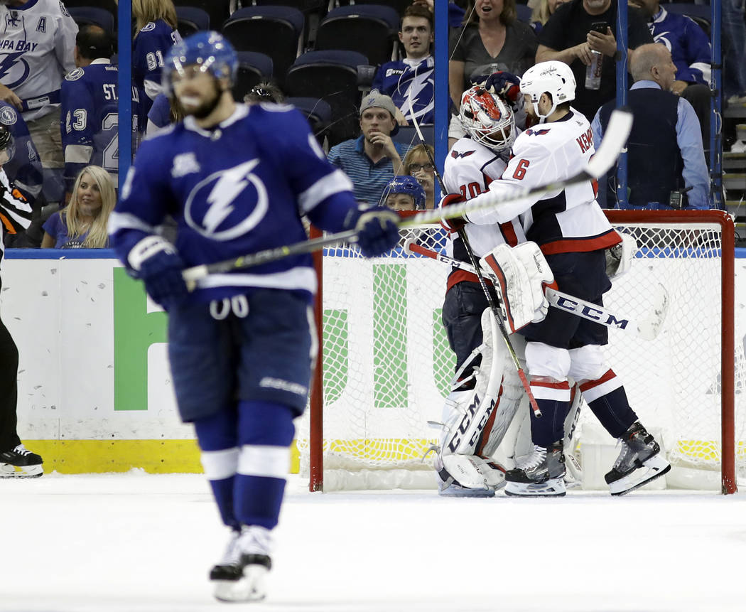 Washington Capitals defenseman Michal Kempny and goaltender Braden Holtby  (70) celebrate after the Capitals e214f2ee435b