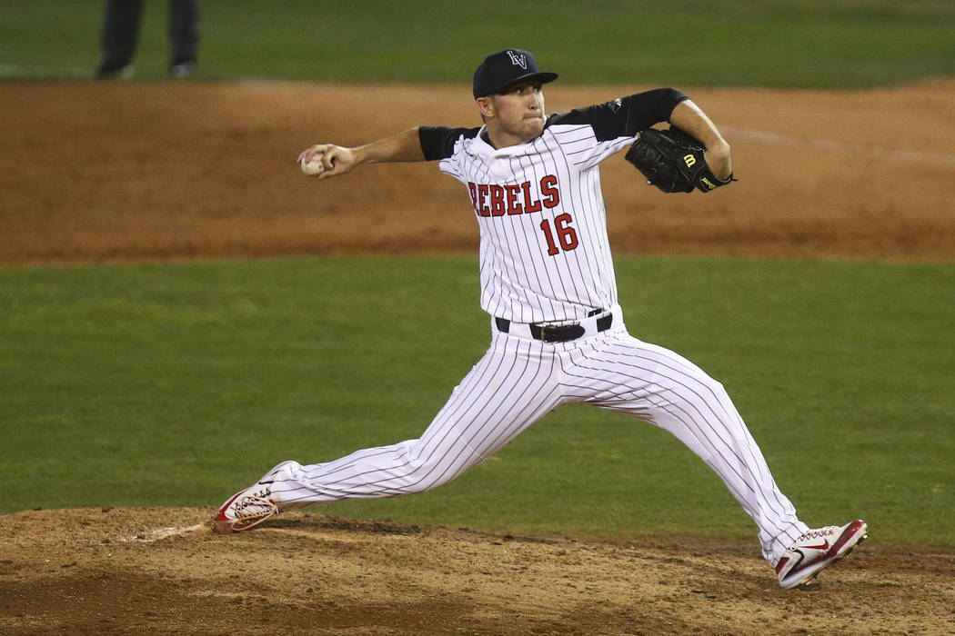 UNLV's Alan Strong (16) pitches to Omaha during their opening season baseball game at Earl E. Wilson Stadium at UNLV in Las Vegas on Friday, Feb. 17, 2017. (Chase Stevens/Las Vegas Review-Journal) ...