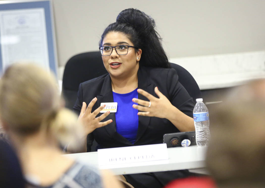 Irene Cepeda, candidate for Clark County School Board District D, speaks during a panel of candidates running for Nevada's education boards held by the Guinn Center and Hope for Nevada at The Publ ...