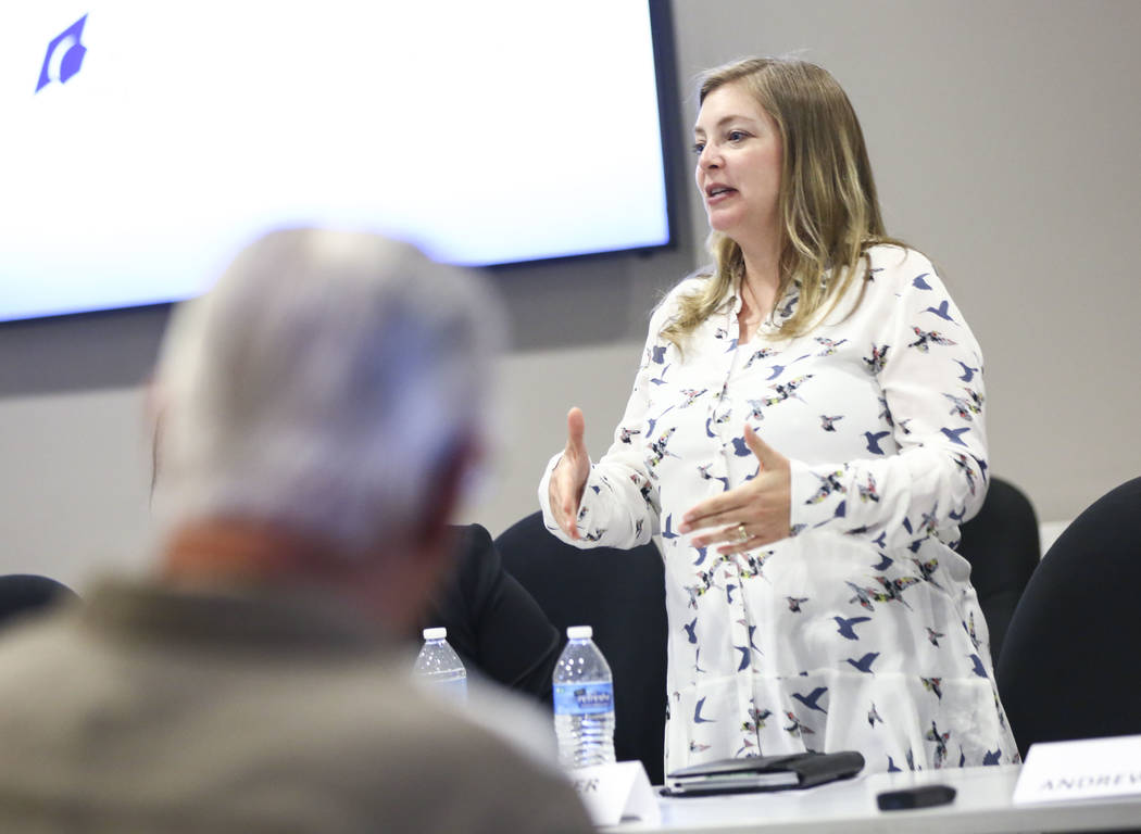 Amy Carvalho, candidate for Nevada System of Higher Education Regent District 12, speaks during a panel of candidates running for Nevada's education boards held by the Guinn Center and Hope for Ne ...