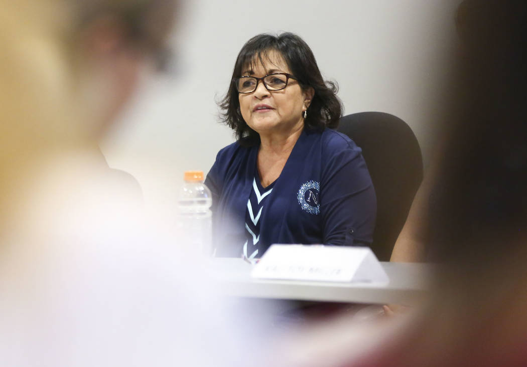 Mary E. Ballinger, candidate for Clark County School Board District F, speaks during a panel of candidates running for Nevada's education boards held by the Guinn Center and Hope for Nevada at The ...