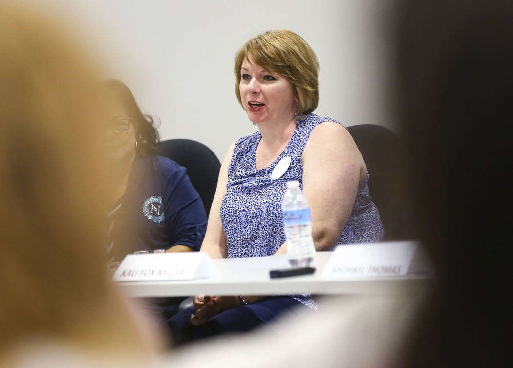 Eileen Eady, candidate for Clark County School Board District F, speaks during a panel of candidates running for Nevada's education boards held by the Guinn Center and Hope for Nevada at The Publi ...