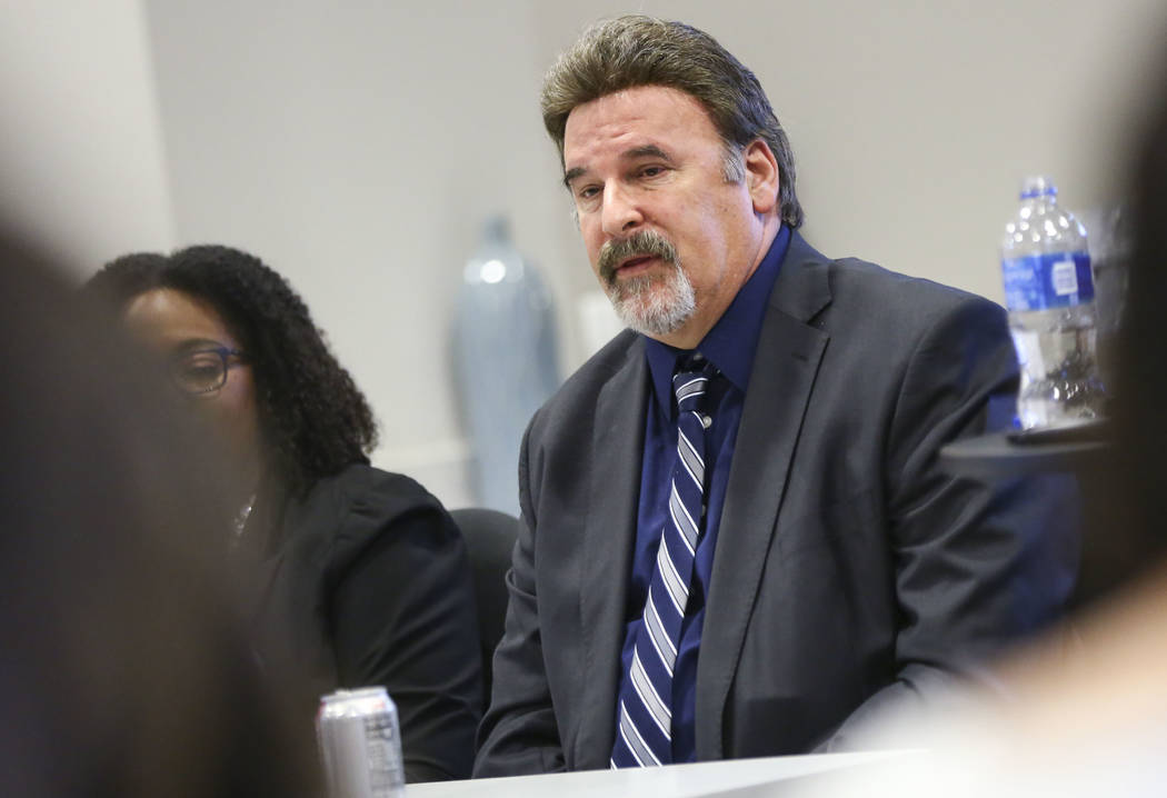 Mike Thomas, candidate for Clark County School Board District F, speaks during a panel of candidates running for Nevada's education boards held by the Guinn Center and Hope for Nevada at The Publi ...