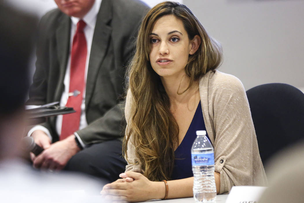 Danielle Ford, candidate for Clark County School Board District F, speaks during a panel of candidates running for Nevada's education boards held by the Guinn Center and Hope for Nevada at The Pub ...
