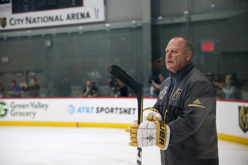 Vegas Golden Knights head coach Gerard Gallant during a team practice at City National Arena in Las Vegas, Thursday, May 24, 2018. Erik Verduzco Las Vegas Review-Journal @Erik_Verduzco