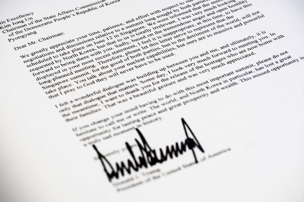A copy of the letter sent to North Korean leader Kim Jong Un from President Donald Trump canceling their planned summit in Singapore is photographed in Washington, Thursday, May 24, 2018. (J. Davi ...