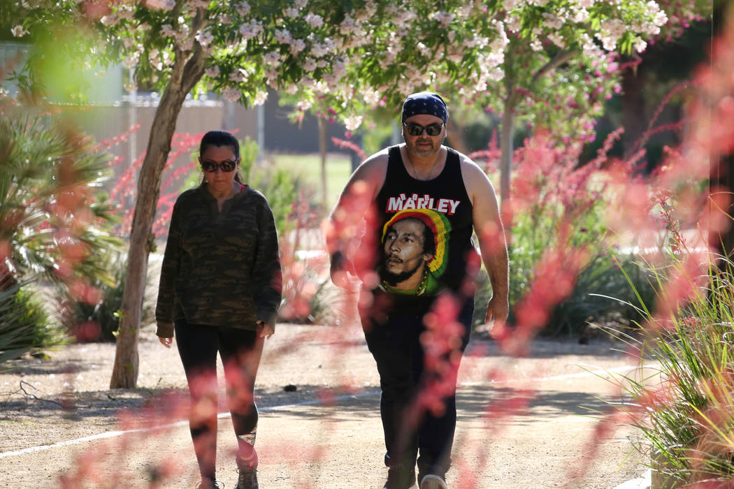 Two friends, who declined to give their names, go on for their early morning walk at Sunset Park on Wednesday, May 16, 2018, in Las Vegas. Bizuayehu Tesfaye/Las Vegas Review-Journal @bizutesfaye