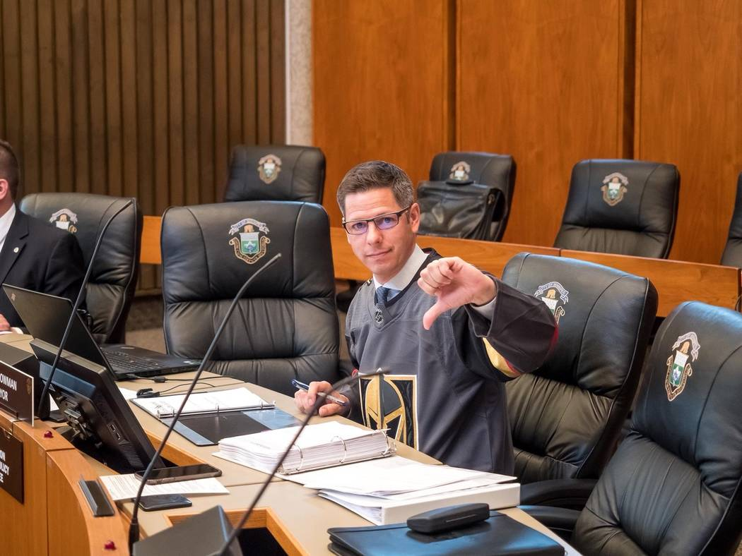 Winnipeg Mayor Brian Bowman is shown wearing a Vegas Golden Knights home jersey during his town's City Council meeting on Thursday, May 24, 2018. (City of Winnipeg)
