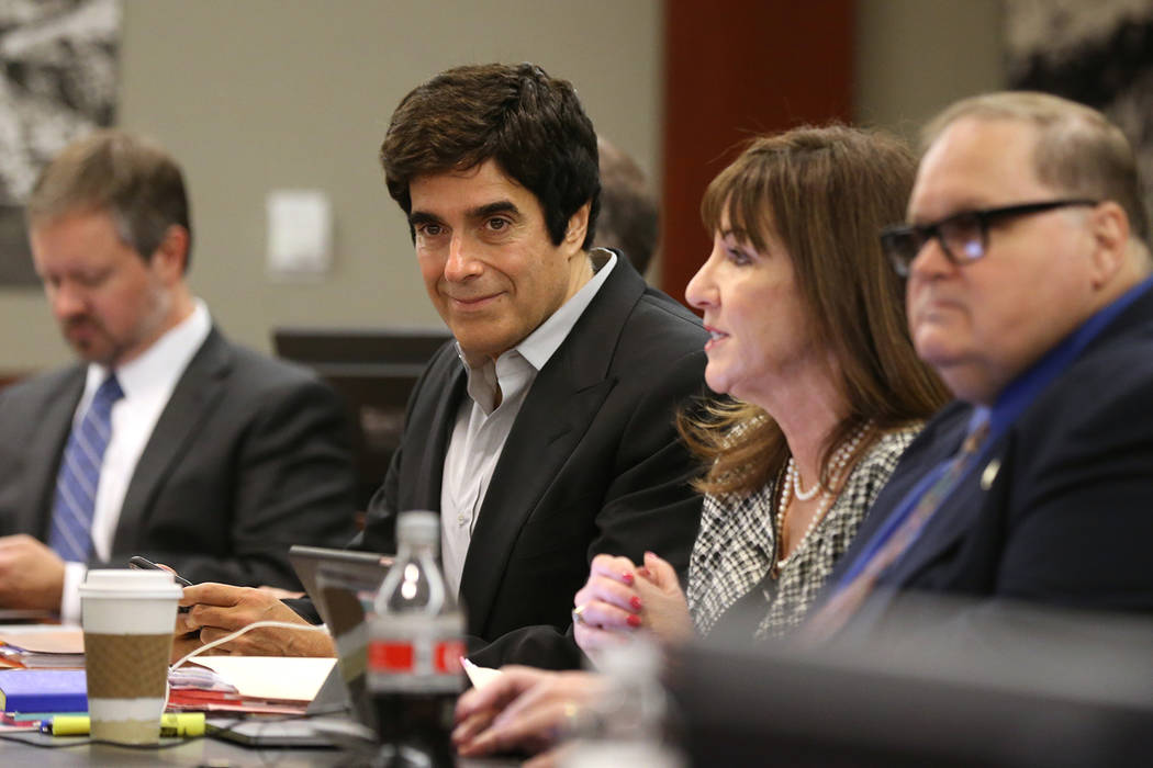 David Copperfield, second from left, listens to closing arguments during his civil trial at the Regional Justice Center in Las Vegas Thursday, May 24, 2018. A British tourist said he was injured d ...