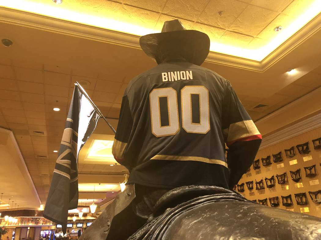 The statue of Benny Binion with Vegas Golden Knights gear is shown at South Point hotel-casino on Wednesday, May 24, 2018. (John Katsilometes/Las Vegas Review-Journal)