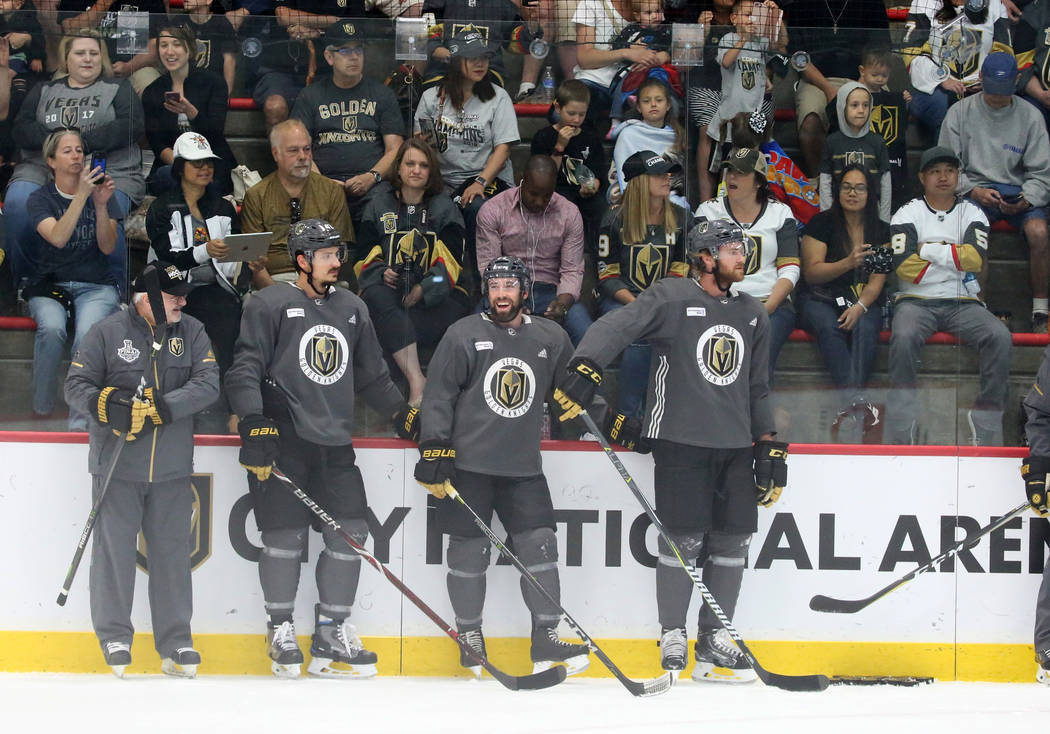 Fans watch as Golden Knights players practice at City Center Arena on Wednesday, May 23, 2018, in Las Vegas. Bizuayehu Tesfaye/Las Vegas Review-Journal @bizutesfaye
