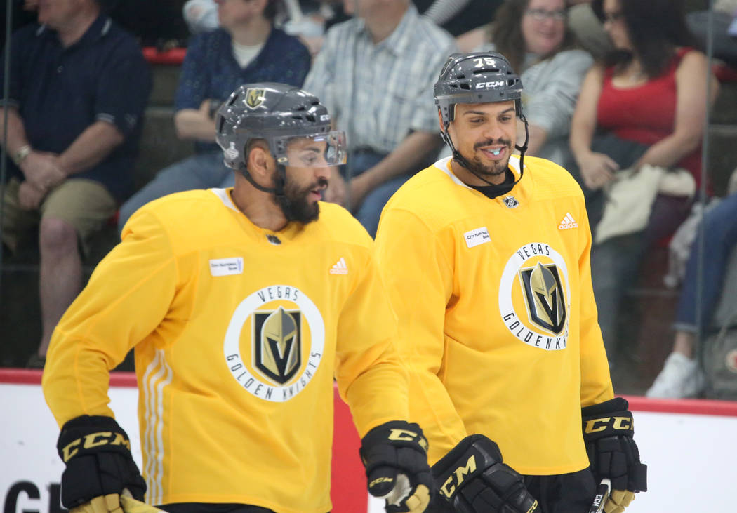 Vegas Golden Knights center Pierre-Edouard Bellemare, left, and right wing Ryan Reaves chat during team practice at City Center Arena on Wednesday, May 23, 2018, in Las Vegas. Bizuayehu Tesfaye/La ...