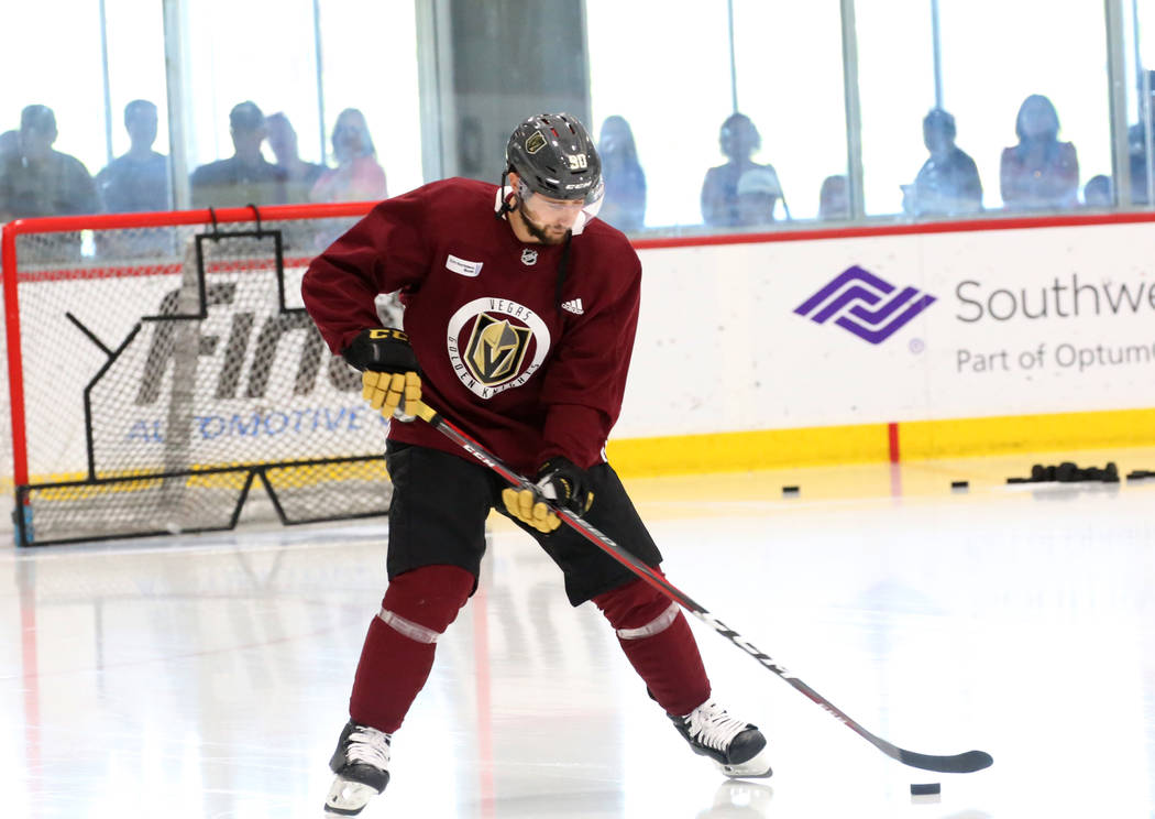 Golden Knights forward Tomas Tatar controls the puck during team practice at City Center Arena on Wednesday, May 23, 2018, in Las Vegas. Bizuayehu Tesfaye/Las Vegas Review-Journal @bizutesfaye