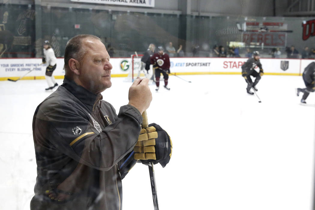 Golden Knights head coach Gerard Gallant watches his players during team practice at City Center Arena on Wednesday, May 23, 2018, in Las Vegas. Bizuayehu Tesfaye/Las Vegas Review-Journal @bizutesfaye