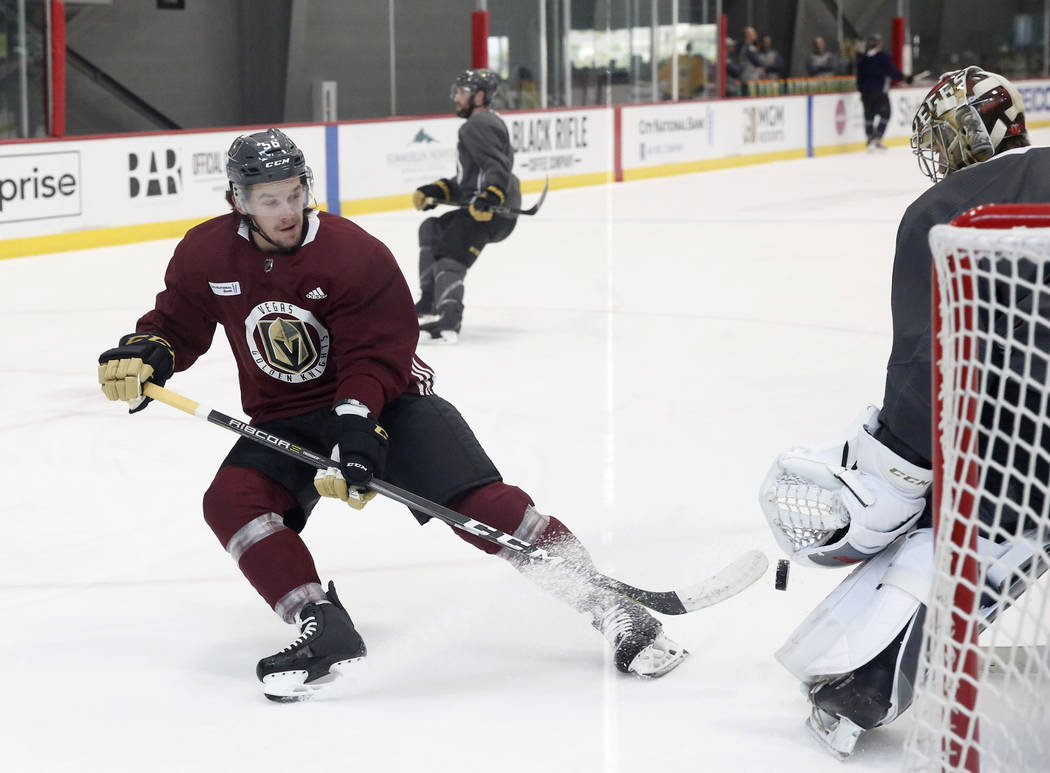 Vegas Golden Knights left wing Erik Haula tries to score during team practice at City Center Arena on Wednesday, May 23, 2018, in Las Vegas. Bizuayehu Tesfaye/Las Vegas Review-Journal @bizutesfaye