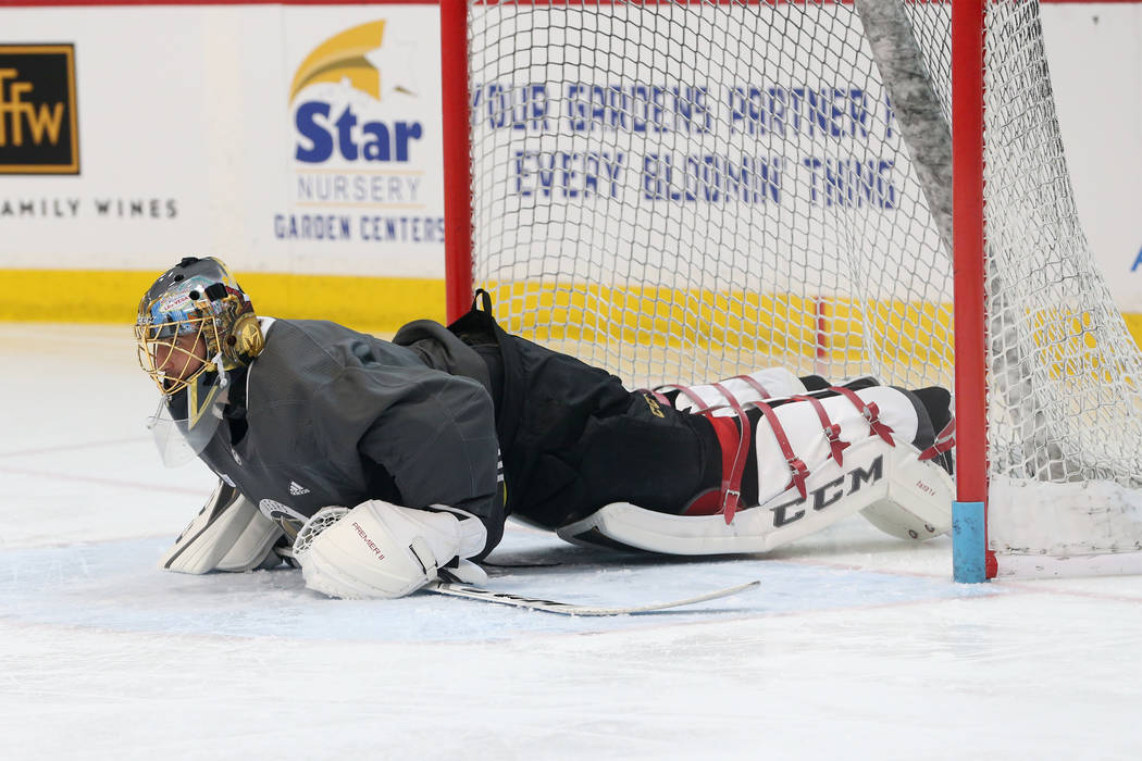 Vegas Golden Knights goaltender Marc-Andre Fleury (29) goes down for a pushup during a team practice at City National Arena in Las Vegas, Thursday, May 24, 2018. Erik Verduzco Las Vegas Review-Jou ...
