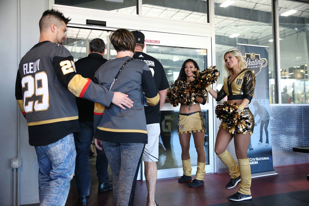 Golden Aces Maria Martucci, left, and Taylor Norton greet fans to the Vegas Golden Knights practice at City National Arena in Las Vegas, Thursday, May 24, 2018. Erik Verduzco Las Vegas Review-Jour ...