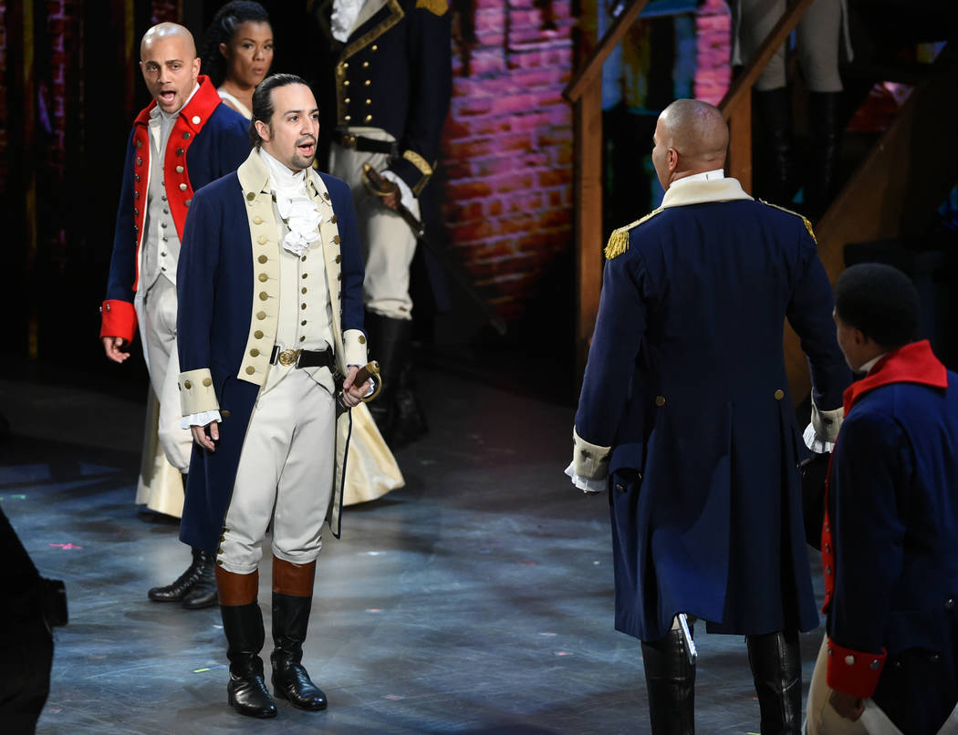 Lin-Manuel Miranda and the cast of Hamilton perform at the Tony Awards at the Beacon Theatre on Sunday, June 12, 2016, in New York. (Photo by Evan Agostini/Invision/AP)