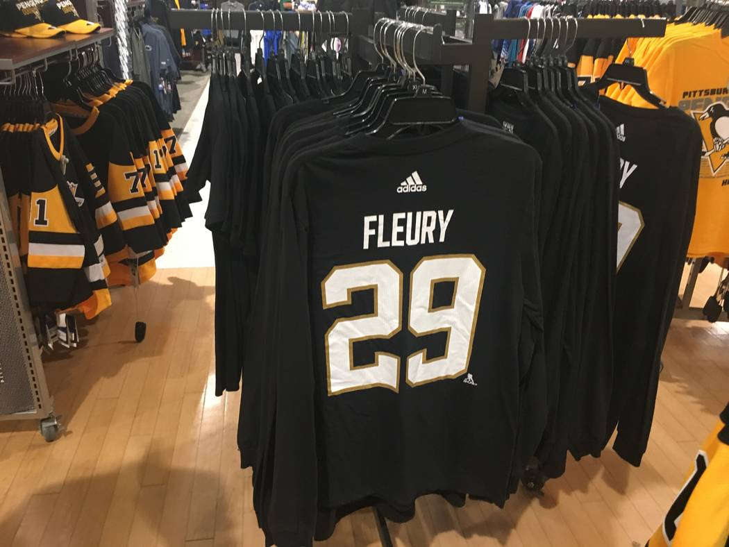 Golden Knights and Marc-Andre Fleury gear is seen at a Pittsburgh-area Dick's Sporting Goods on Wednesday, May 23, 2018 in Coraopolis, Pa. Justin Emerson/Las Vegas Review-Journal.