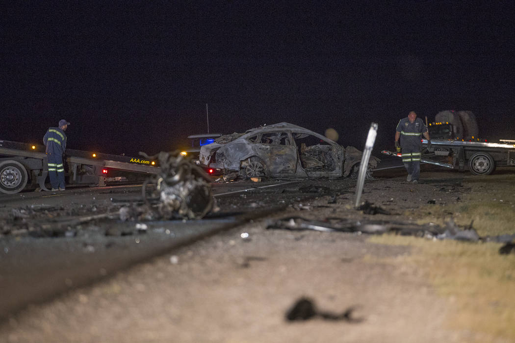 The northbound Nissan that was fully engulfed in flames in the multi-fatality crash on U.S. Highway 95, near Amargosa Valley in Nye County, Sunday, May 20, 2018. (Rachel Aston Las Vegas Review-Jou ...