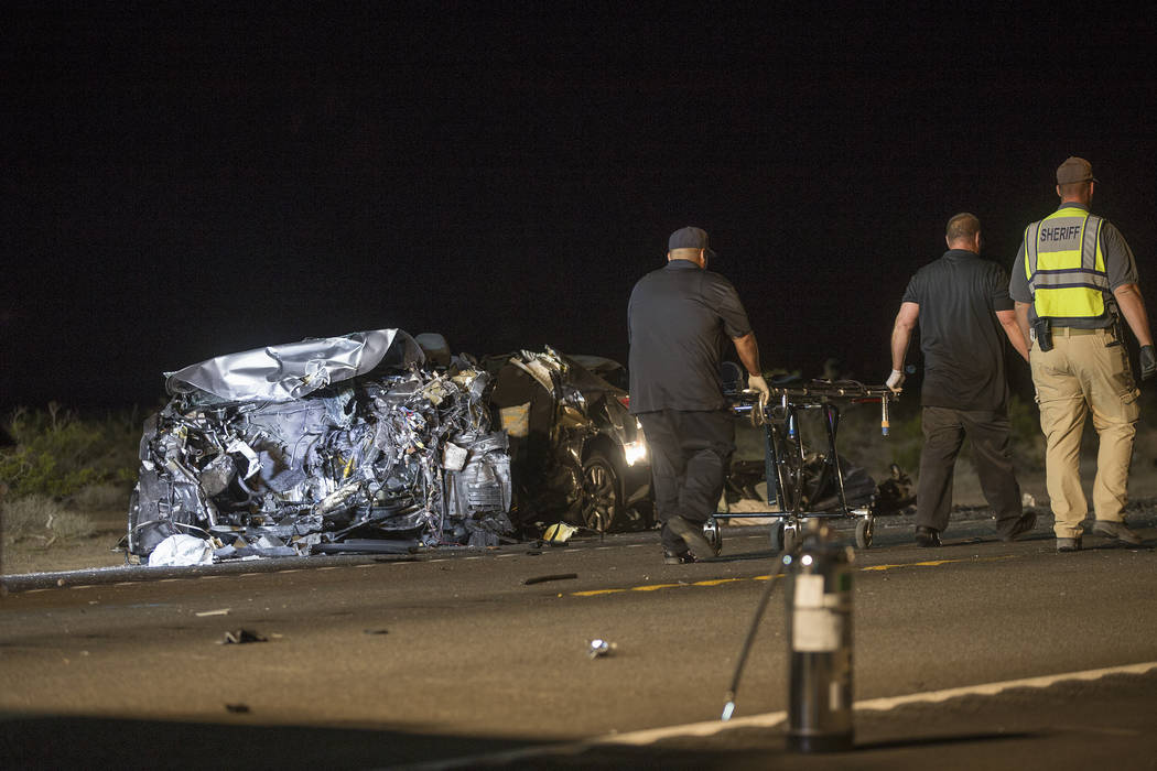 The southbound Nissan that was fully engulfed in flames in the multi-fatality crash on U.S. Highway 95, near Amargosa Valley in Nye County, Sunday, May 20, 2018. (Rachel Aston Las Vegas Review-Jou ...