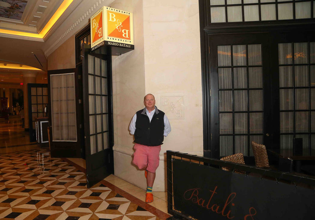 Mario Batali celebrates the 10th anniversaries of his Otto Enoteca e Pizzeria and B&B Ristorante at The Venetian on Friday, April 14, 2017, in Las Vegas. (Gabe Ginsberg)