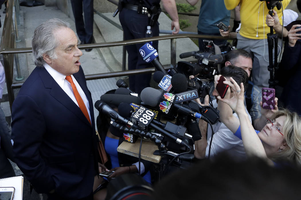 Benjamin Brafman, attorney for Harvey Weinstein, speaks to reporters outside of the New York County Criminal Court building after Weinstein appeared on charges of sexual misconduct, Friday, May 25 ...