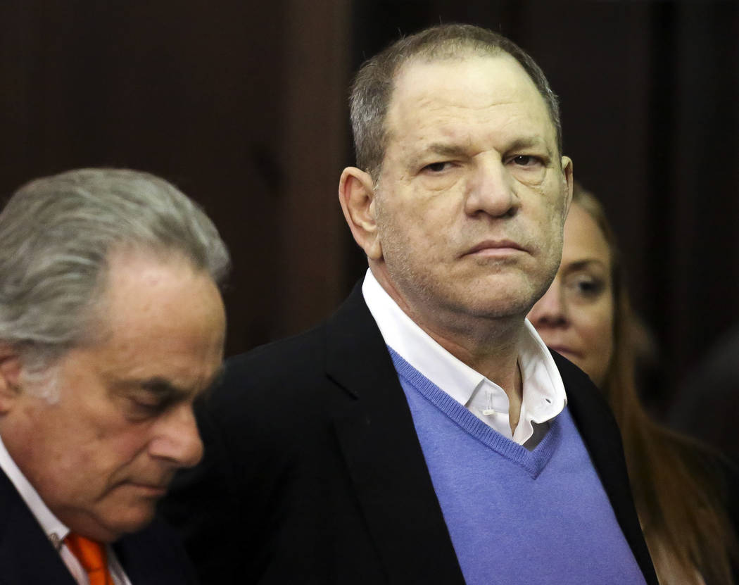 Harvey Weinstein, right, appears at his arraignment with his lawyer Benjamin Brafman in Manhattan Criminal Court on Friday, May 25, 2018 in New York. Weinstein is charged with two counts of rape a ...
