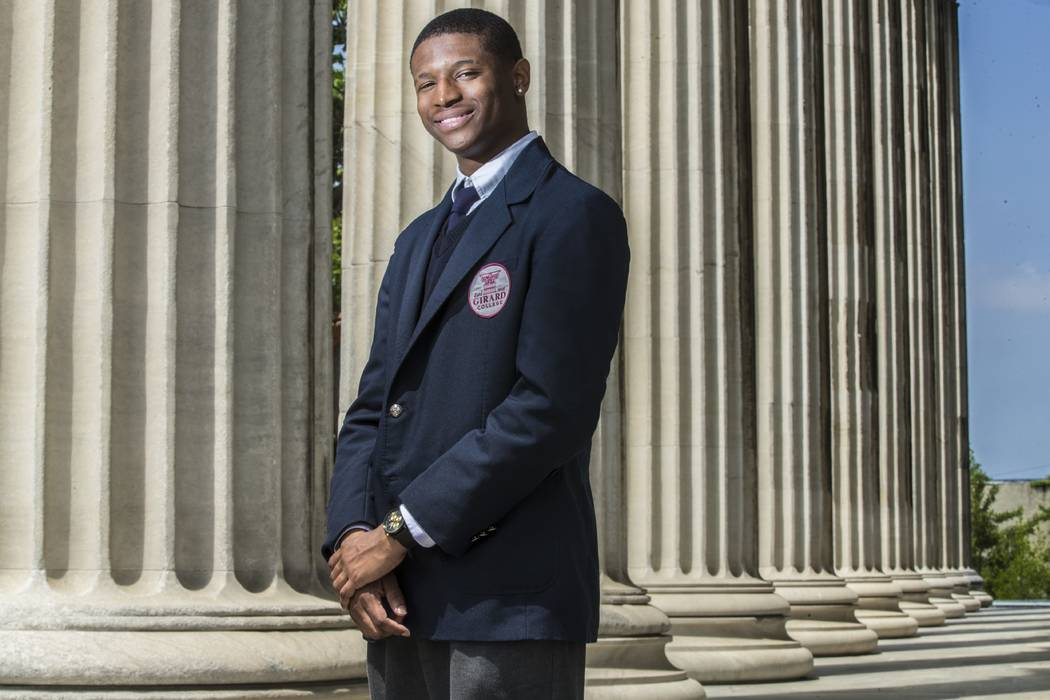 "In a May 14, 2018 photo, photographed outside Girard College's Founders Hall, student Richard ""Tre"" Jenkins was recently awarded a full scholarship to Harvard. Jenkins says he used to sl ..."