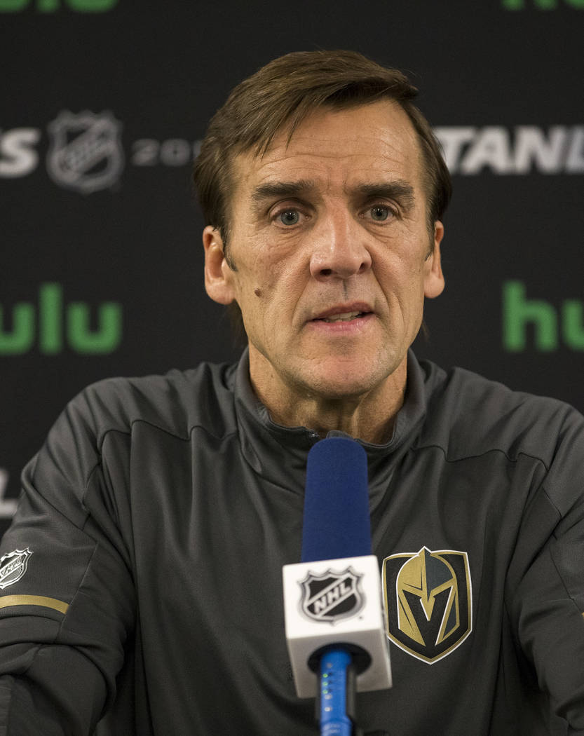 Vegas Golden Knights general manager George McPhee at a press conference at City National Arena in Las Vegas on Monday, May 21, 2018. Richard Brian Las Vegas Review-Journal @vegasphotograph