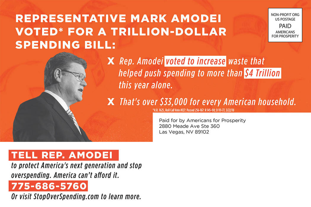 This direct-mail ad criticizes U.S. Rep. Mark Amodei. (courtesy)
