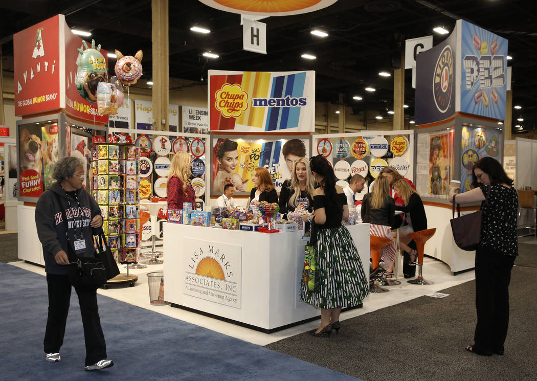 Expogoers at Lisa Marks, a licensing and marketing agency, booth at the 2018 Licensing Expo on Tuesday, May 22, 2018, in Las Verges. Bizuayehu Tesfaye/Las Vegas Review-Journal @bizutesfaye