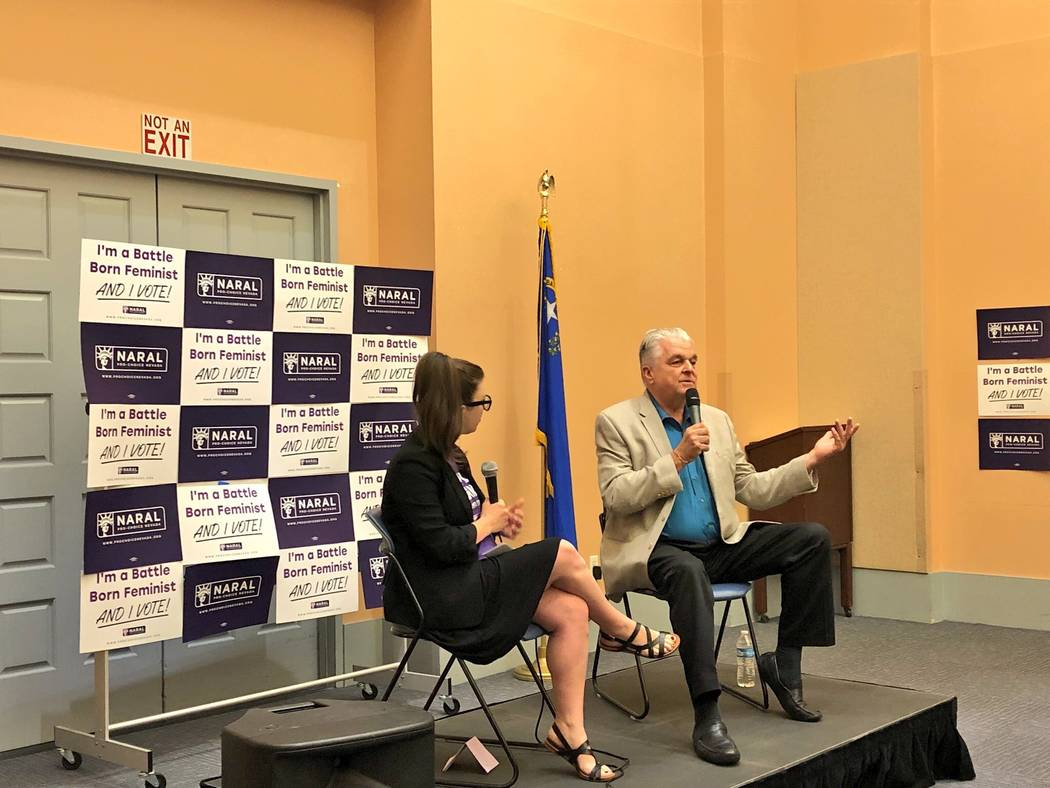 Clark County Commissioner and gubernatorial candidate Steve Sisolak answers questions about reproductive freedom at a forum Thursday held by NARAL Pro-Choice Nevada.