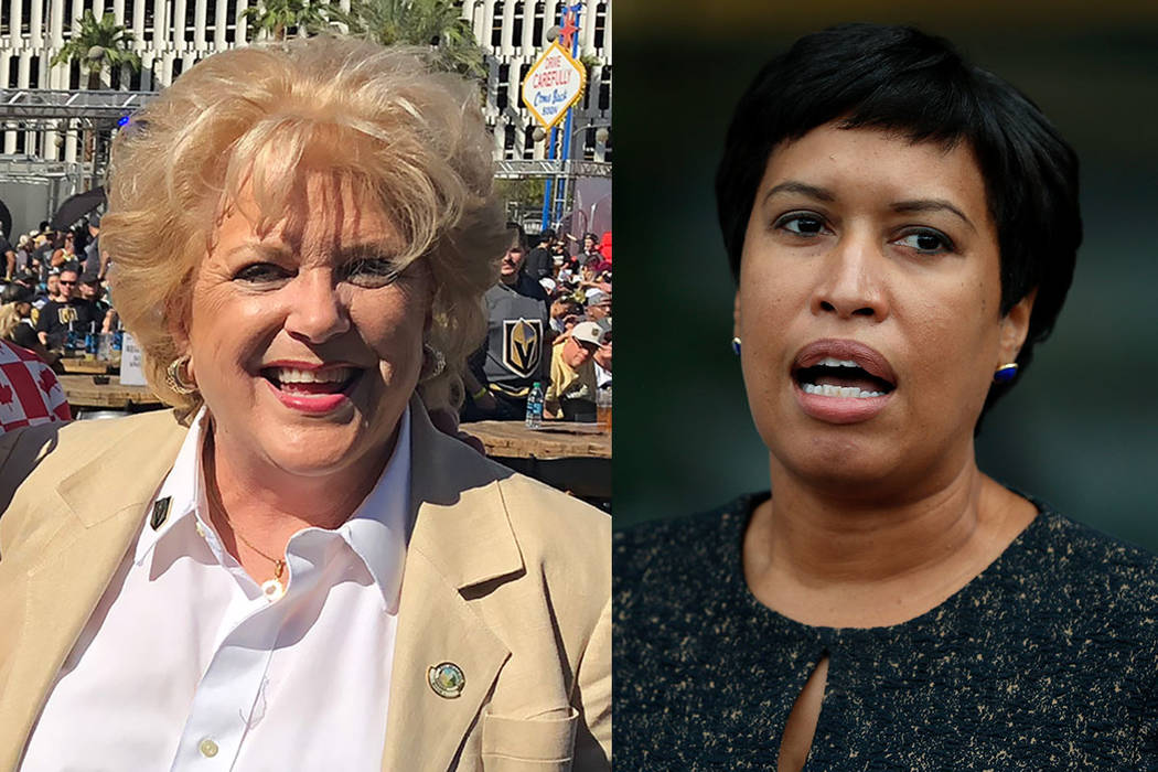 Las Vegas Mayor Carolyn Goodman, left, and Washington, D.C., Mayor Muriel Bowser (Las Vegas Review-Journal and The Associated Press)