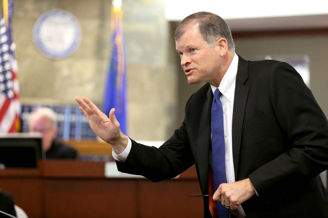 Lee Roberts, an attorney for Backstage Employment and Referral Inc., makes his closing argument in the civil trial involving magician David Copperfield at the Regional Justice Center in Las Vegas ...