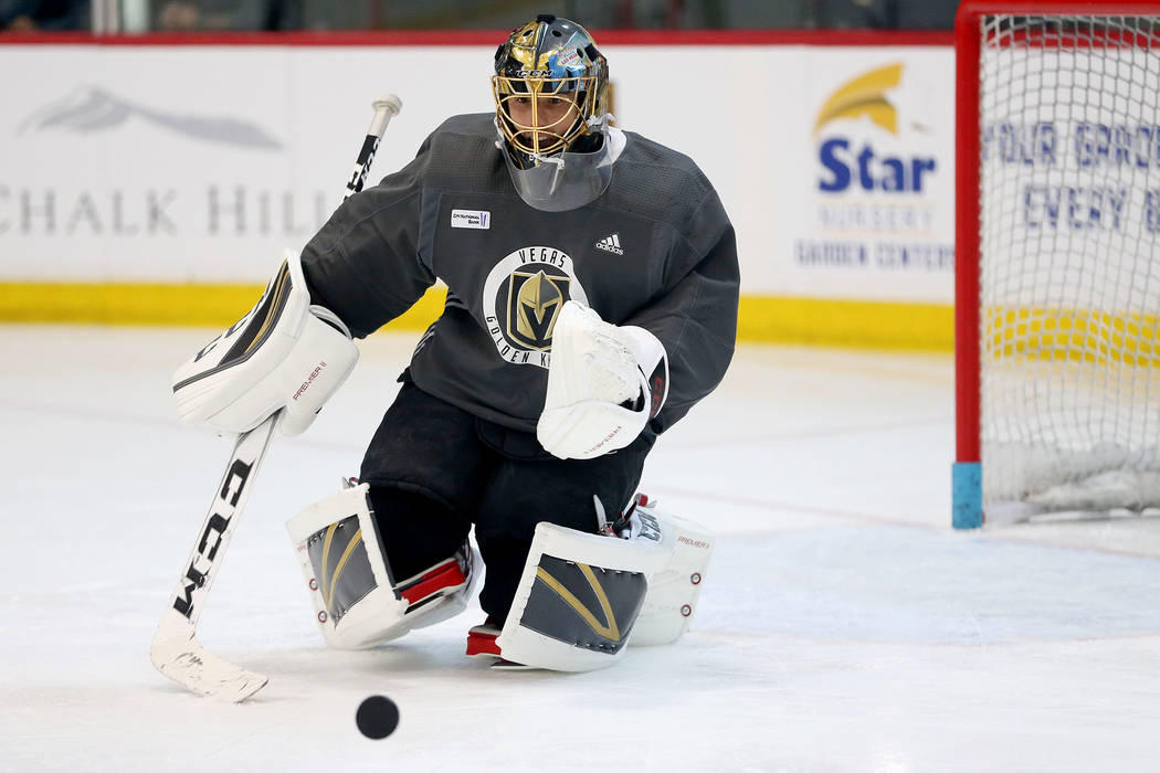 Vegas Golden Knights goaltender Marc-Andre Fleury (29) defends the goal during a team practice at City National Arena in Las Vegas, Thursday, May 24, 2018. Erik Verduzco Las Vegas Review-Journal @ ...