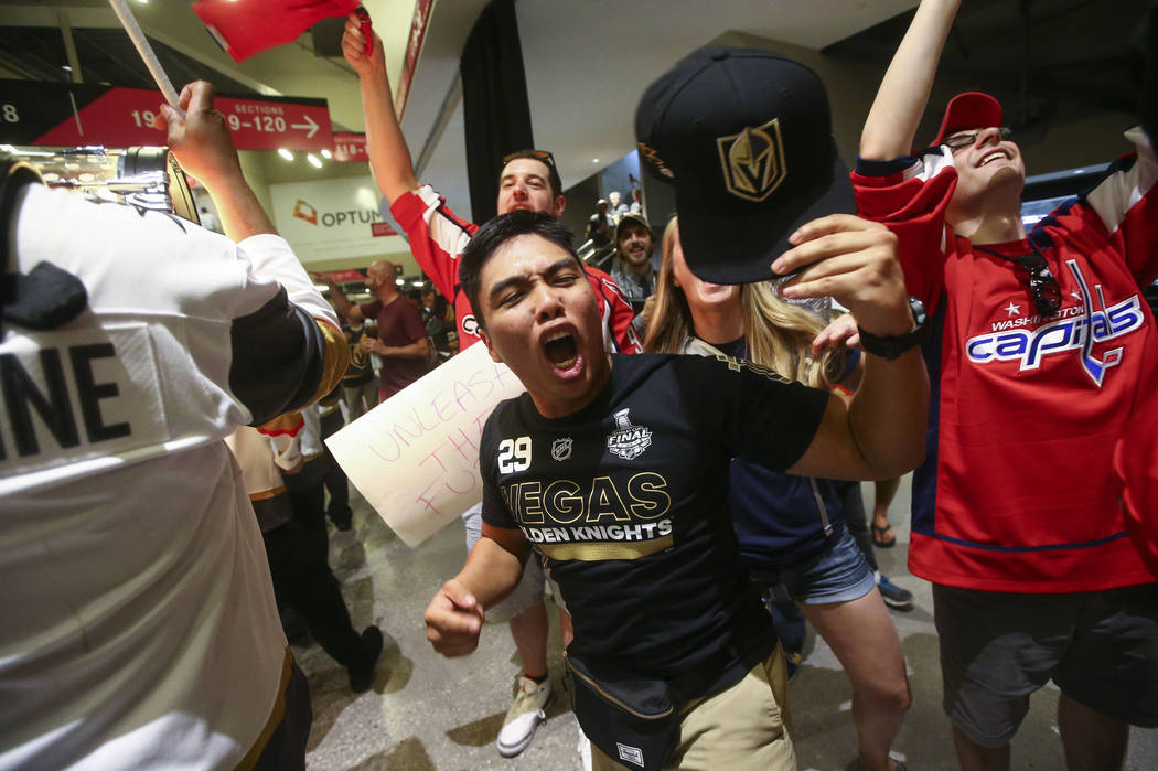 Golden Knights fans cheer during a pregame parade ahead of Game 1 of the NHL hockey Stanley Cup Final at the T-Mobile Arena in Las Vegas on Monday, May 28, 2018. Chase Stevens Las Vegas Review-Jou ...